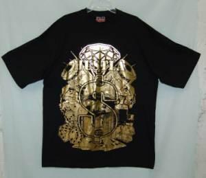 PhD Mens Phat Doc Wear Gold Hustla Money Sign Tee Shirt