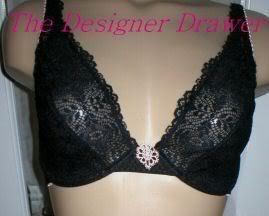 Felina Black Unlined Mesh Print Demi Bra 90084  34B NEW