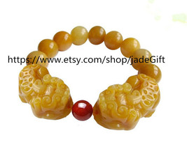 Free Shipping - 100% Natural yellow jade  Meditation yoga Prayer Beads charm  Pi - $25.99
