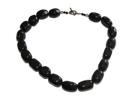 GORGEOUS BIG AND BOLD VINTAGE BLACK ONYX CHUNKY NECKLACE L@@ - $59.00
