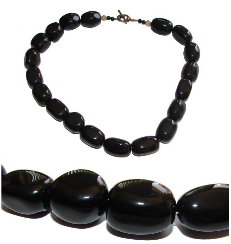 GORGEOUS BIG AND BOLD VINTAGE BLACK ONYX CHUNKY NECKLACE L@@