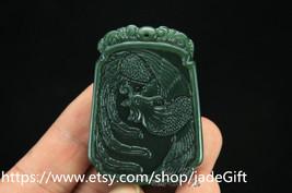 Free Shipping - A Green  jade Good luck Hand- carved Natural green Phoenix jade  - $23.99