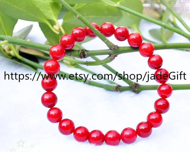 Free Shipping - good luck natural Red Coral Prayer Beads charm beaded bracelet