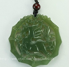 Free Shipping -  hand carved GREEN jade horse charm good luck blessing c... - $34.99