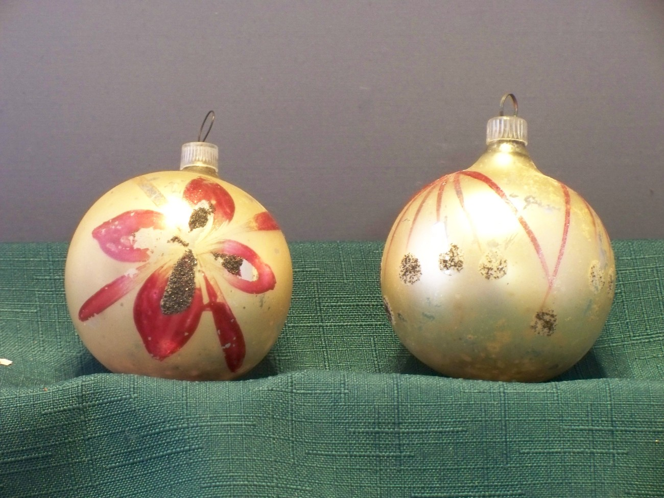 Two Vintage Glass Ball Ornaments Made In West Germany