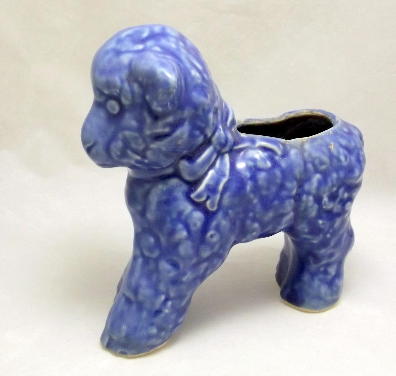 Blue pottery lamb planter 1