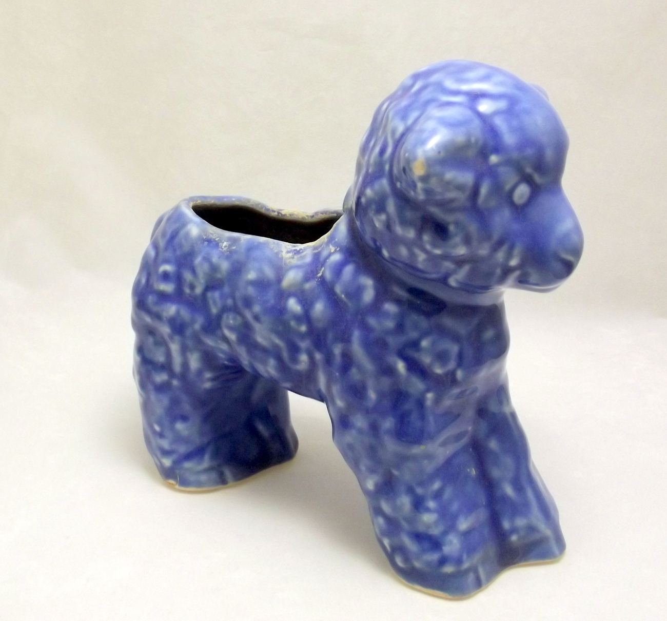 Vintage Cameron Clay Products blue baby lamb planter