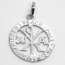 SOLID 18K WHITE GOLD MONOGRAM OF CHRIST PENDANT, PEACE, MEDAL, 0.95 INCHES image 3