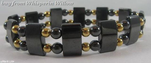 Magnetic Hematite and Gold Double Strand Men's Bracelet
