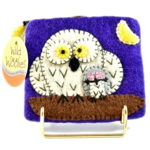 Wild Woolies Handmade Felted Wool Snow White Night Owl Coin Purse Bag Made Nepal image 1