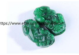 Free Shipping - good luck handmade good luck Real Natural Green jade carved  TWO - $24.99