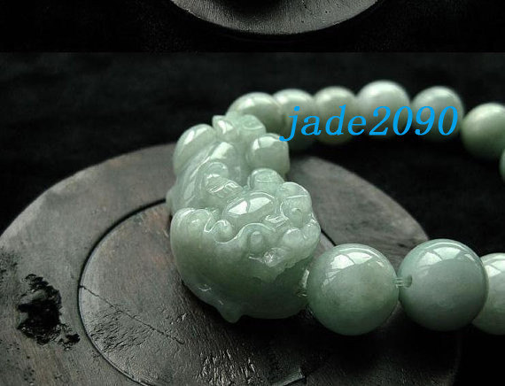 Free Shipping - good luck Amulet natural green jade '' PI YAO'' Prayer Beads cha