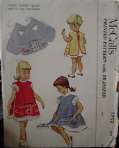 Pattern 1712 Child's sz 2 Cobbler Apron w/Pockets and Embroidery 1950s - $6.99