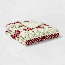 Printed Plush Reversed to Sherpa Throw Blanket - Threshold - 60 x 50 NEW !    image 2