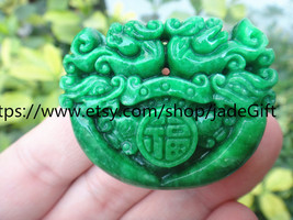Free Shipping -  green jade Carved two head  Dragon  charm jade Pendant - $28.99
