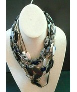 3 Necklaces black beads silver tone animal print brown wooden  beads  - $13.96
