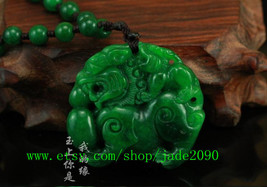 Free Shipping - 8mm beaded necklace handmade good luck Real Natural Green jade c - $26.99