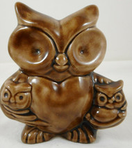 "Vintage Ceramic Mother Holding Two Baby Owl Figurine 4"" Brown - $15.83"