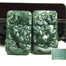 Free Shipping - one couple / ONE  pair  Amulet Natural green jade jadeite carved - $26.99