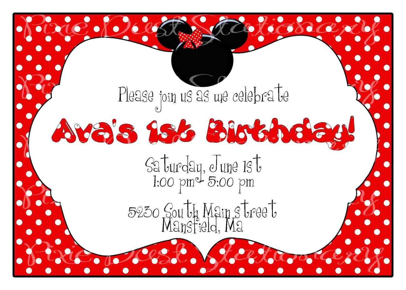 Minnie Mouse Invitation Background Designs