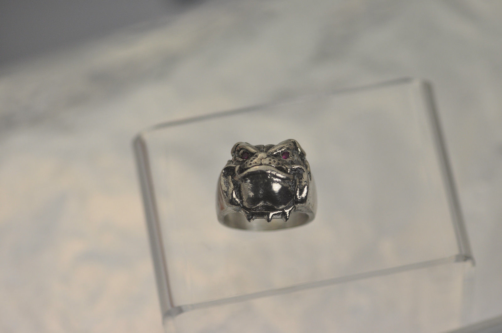 Solid Heavy Bulldog Pug Dog Jewelry Sterling silver .925 ring Ruby eyes Pick SZ