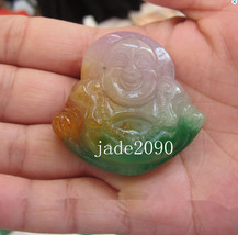 Free shipping - Hand carved Natural  three colour jadeite jade Laughing Buddha c - $23.99