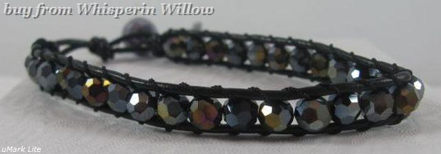 Black leather and crystal bracelet 1
