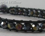 Black leather and crystal bracelet 1 thumb155 crop