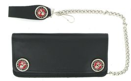 "Marines Emblem Leather Biker Wallet with 12"" Chain-Officially Licensed - $29.99"