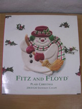 Fitz & Floyd Plaid Christmas Snowman Canape Plate NEW - $23.74