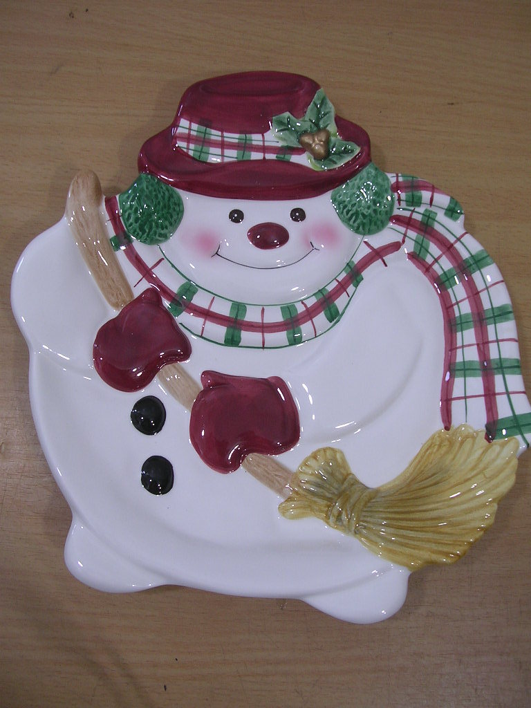 fitz floyd plaid christmas snowman canape plate new other. Black Bedroom Furniture Sets. Home Design Ideas
