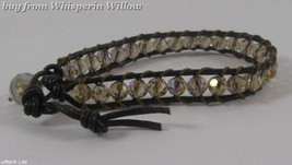 Leather and Ab Crystal Bracelet - $24.95