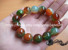 Free Shipping - 12mm Natural Red green  jade Beads charm bracelet - $18.99
