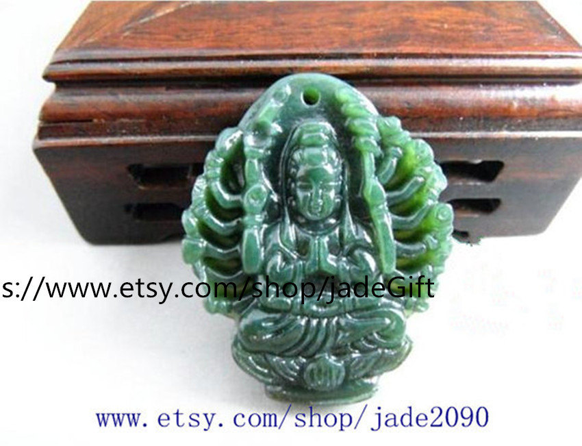 Primary image for Free Shipping - handmade Natural Green jadeite jade carved  Kwan-Yin  charm jade