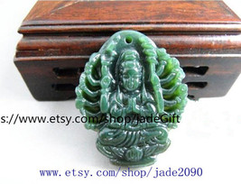 Free Shipping - handmade Natural Green jadeite jade carved  Kwan-Yin  ch... - $19.99