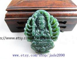 Free Shipping - handmade Natural Green jadeite jade carved  Kwan-Yin  charm jade - $19.99