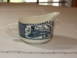 "Vintage Country Style Creamer milk white blue ceramic 3 1/2"" W X 2 1/4"" H ~ - $20.78"
