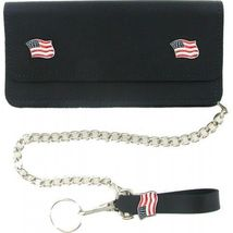 US Flag Leather Wallet (Premium)-7 Inch Wallet with Chain Loop-Made in USA - $29.99