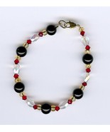 Handmade Handcrafted Black Red Gold Clear AB Glass Beads Bracelet Jewelry - $2.50