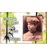 ACEO ATC Art Collage Women Ladies Order Men Out Of Catalogs Humor - $5.00