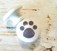 "Handcrafted Gray Dog Paw Print Knobs Drawer Pulls, 1.5"" White Cabinet Knobs - $6.44"
