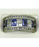 2.00ct tw Oval Tanzanite & Diamond Ring 14k White Gold Size 6 New Old Stock - $865.00