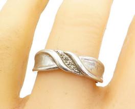 925 Sterling Silver - Genuine Diamonds Raised Edge Band Ring Sz 10 - R17163 - $31.92