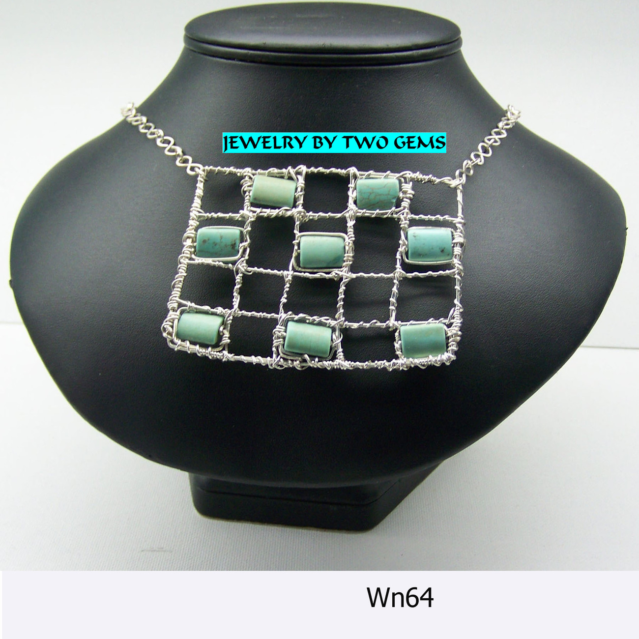 Jewelry By Two Gems Sterling Silver Necklace with Turquoise Rectangle (WN64)