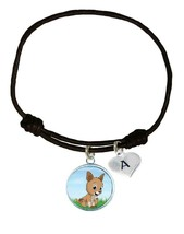 Custom Baby Kangaroo Joey Black Unisex Bracelet Jewelry Gift Choose Initial - $14.24