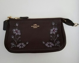 NWT Authentic Coach Floral Embroidered Leather Large Wristlet Clutch $19... - $93.99