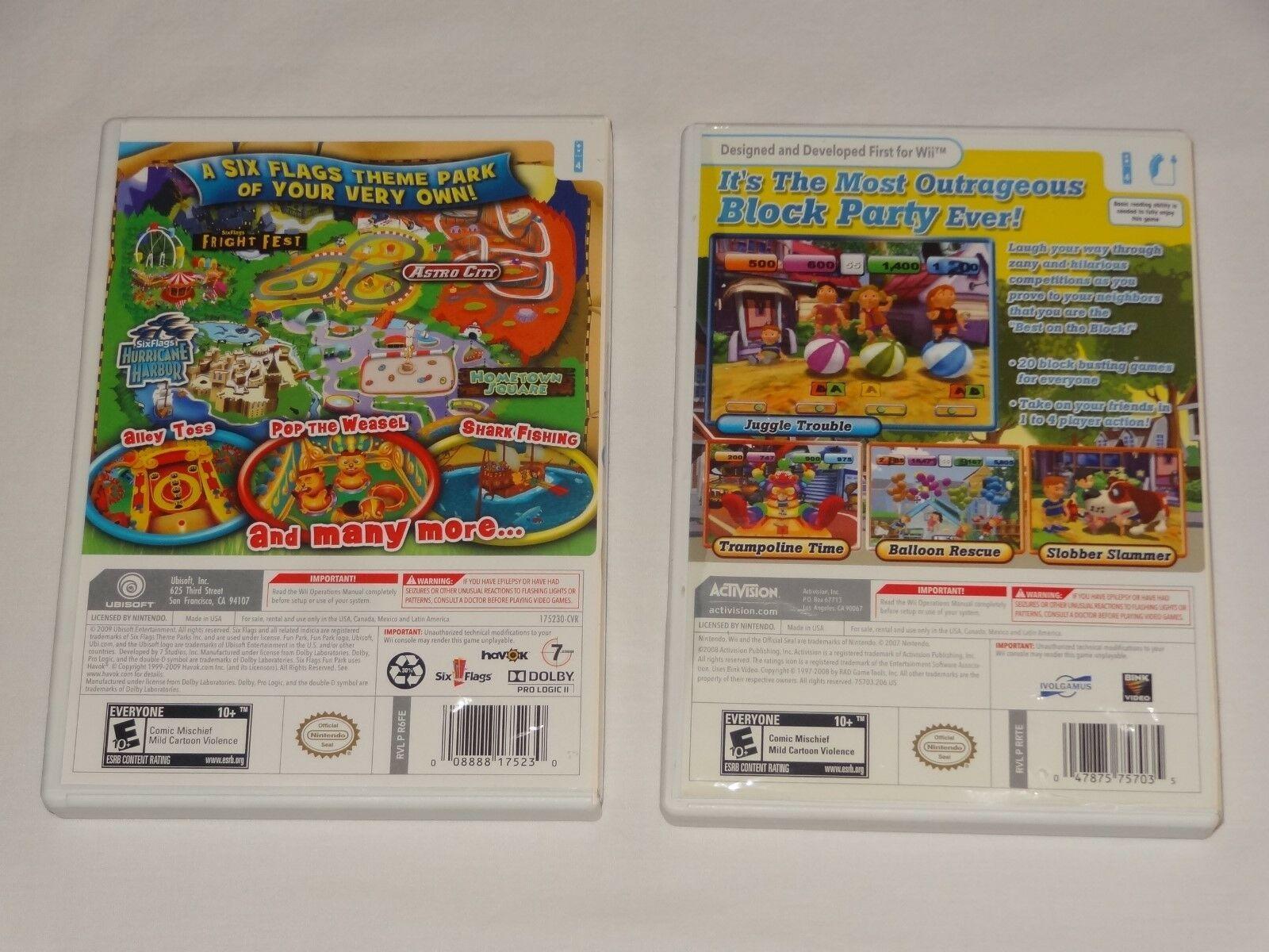 Six Flags Fun Park - Nintendo Wii UBI Soft + Block Party 20 Games Activision image 3