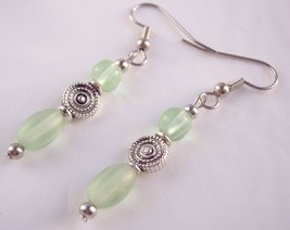 Little Drop Earrings Green and Silver - $9.50