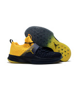 JORDAN SNEAKERS Trainer 2 Flyknit College Michigan Navy Blue Yellow 9212... - $133.54