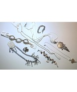Pretty in white Jewelry lot Boho long necklace vintage fashion jewelry n... - $19.50